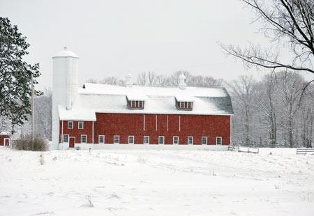 Door County Barn in Winter